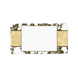 Etiqueta de correo floral del boda del damasco de  etiqueta de dirección