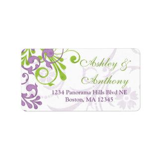 Etiqueta de correo floral verde púrpura de la dire etiquetas de dirección