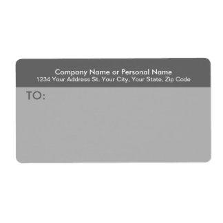 Etiqueta de correo gris moderna del negocio etiqueta de envío