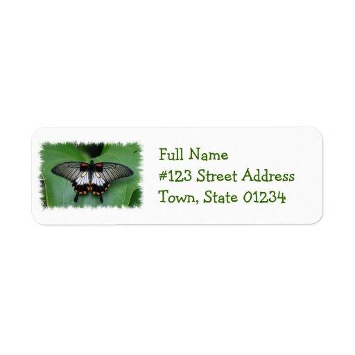 Etiqueta de correo negra y rosada de la mariposa etiqueta de remite
