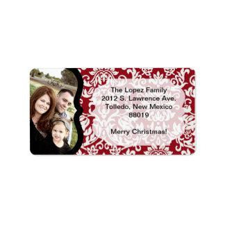Etiqueta de correo roja del navidad de la foto de etiqueta de dirección