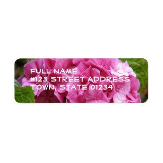 Etiqueta de correo rosada de la flor del Hydrangea Etiquetas De Remite