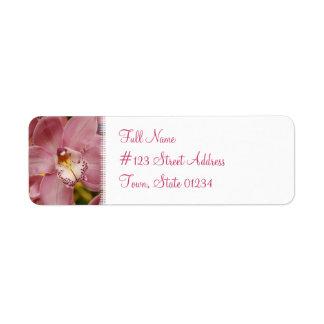 Etiqueta de correo rosada de la orquídea etiquetas de remite