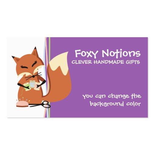 Etiqueta de costura del regalo del zorro de las tarjetas de visita
