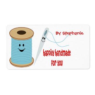 Etiqueta de costura feliz hecha a mano etiquetas de envío