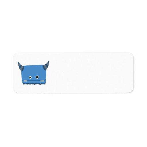 Etiqueta de cuernos azul del monstruo etiqueta de remite