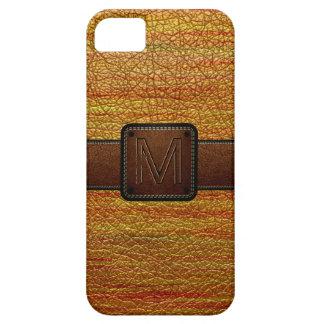 Etiqueta de cuero anaranjada del marrón de la mira iPhone 5 funda