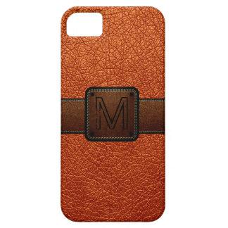 Etiqueta de cuero anaranjada del marrón de la mira iPhone 5 Case-Mate protector