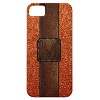 Etiqueta de cuero anaranjada del marrón de la mira iPhone 5 Case-Mate cárcasa