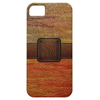 Etiqueta de cuero anaranjada retra del marrón de l iPhone 5 Case-Mate carcasas