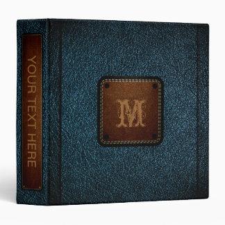 "Etiqueta de cuero azul marino de Brown de la mirad Carpeta 1 1/2"""