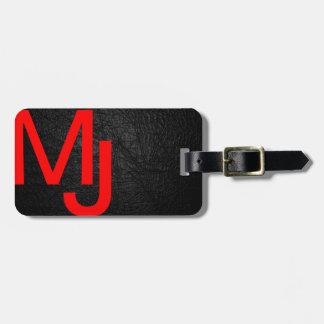 Etiqueta de cuero negra roja del equipaje del mono etiquetas para maletas
