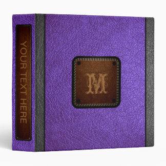 """Etiqueta de cuero púrpura de Brown de la mirada Carpeta 1 1/2"""""""