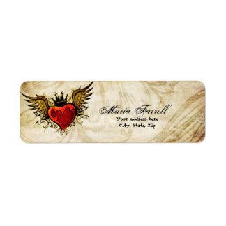 Etiqueta de devolución coa alas tatuaje urbano del etiquetas de remite