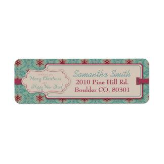 Etiqueta de devolución con clase del navidad etiqueta de remite
