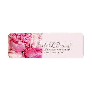 Etiqueta de devolución de la dirección del rosa de etiquetas de remite