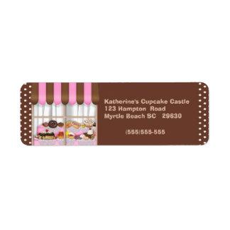 Etiqueta de devolución de la panadería etiqueta de remite