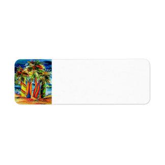 Etiqueta de devolución de las tablas hawaianas etiquetas de remite