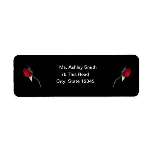 Etiqueta de devolución de los rosas rojos etiqueta de remite
