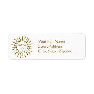 Etiqueta de devolución de oro de la dirección de etiqueta de remite