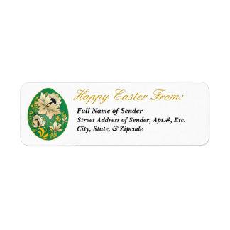 Etiqueta de devolución feliz 1 de Pascua - arte Etiquetas De Remite