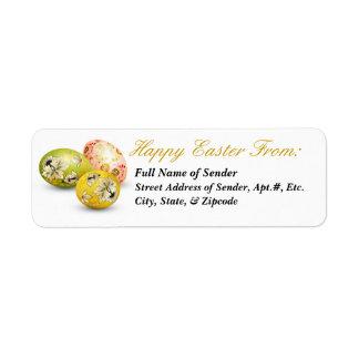 Etiqueta de devolución feliz 2 de Pascua - arte po