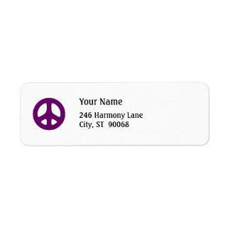 Etiqueta de devolución púrpura gorda del personali etiquetas de remite