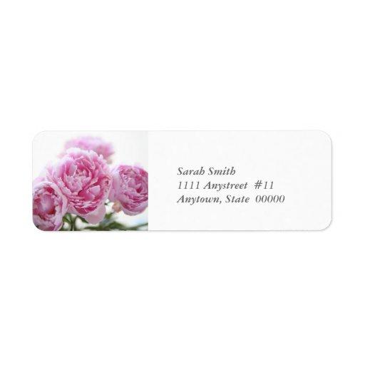 etiqueta de devolución rosada de los peonies etiquetas de remite