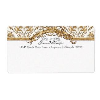 Etiqueta de dirección a juego de oro de la eleganc