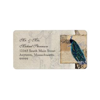 Etiqueta de dirección a juego del pavo real antigu