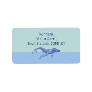Etiqueta de dirección a solas de la ballena