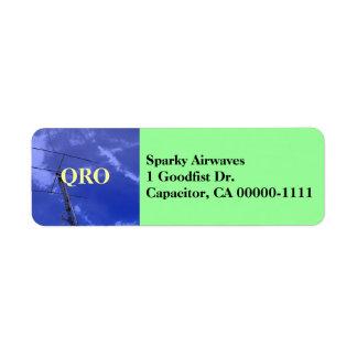 Etiqueta de dirección aficionada de la radio QRO