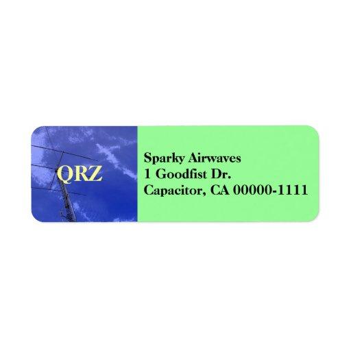 Etiqueta de dirección aficionada de la radio QRZ