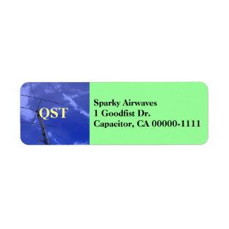Etiqueta de dirección aficionada de la radio QST