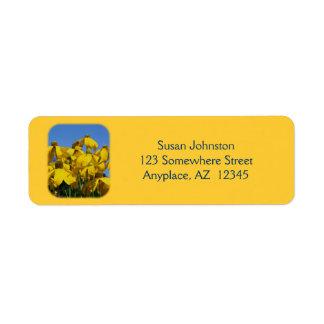 Etiqueta de dirección amarilla de la flor de Conef