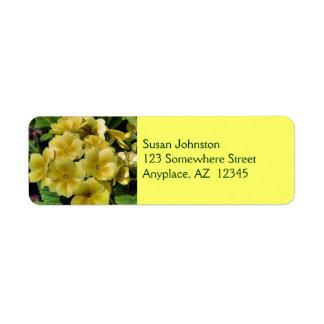 Etiqueta de dirección amarilla de la flor de la pr