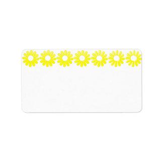 Etiqueta de dirección amarilla de la margarita
