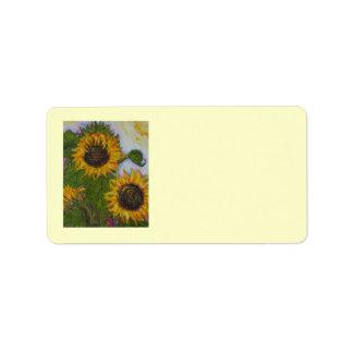 Etiqueta de dirección amarilla del girasol