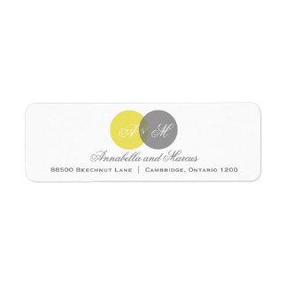Etiqueta de dirección amarilla y gris entrelazada