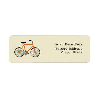 Etiqueta de dirección anaranjada de la bicicleta