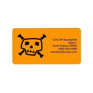 Etiqueta de dirección anaranjada de Peter del vene