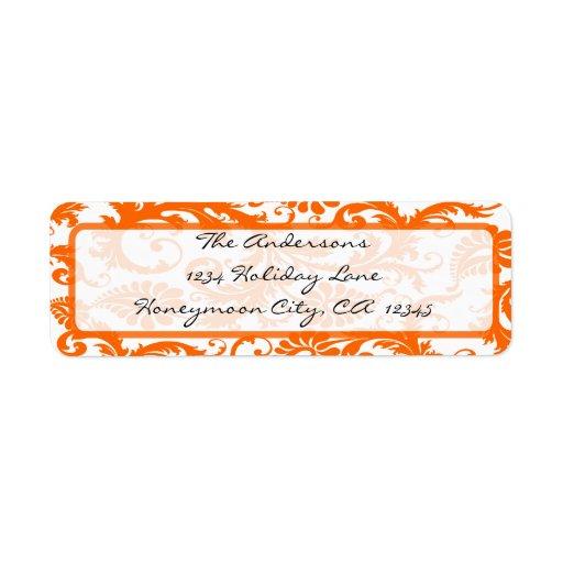 Etiqueta de dirección anaranjada del remolino del
