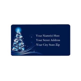 Etiqueta de dirección azul brillante del árbol de