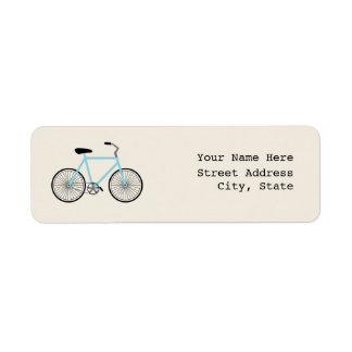 Etiqueta de dirección azul clara de la bicicleta