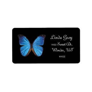 Etiqueta de dirección azul de Buterfly
