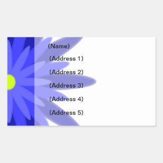 Etiqueta de dirección azul de la floración