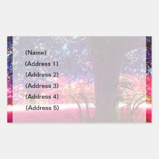 Etiqueta de dirección azul de la hierba del rosa