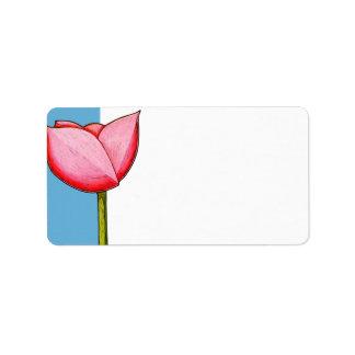Etiqueta de dirección azul de las flores simples