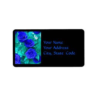 Etiqueta de dirección azul de los rosas del zafiro