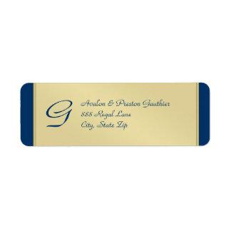 Etiqueta de dirección azul del boda del metal del